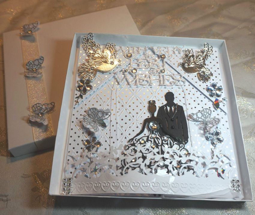 Wedding Day Card Black Sillhouette Hand Made Boxed Keepsake Card
